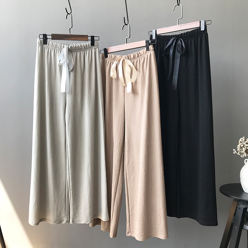 Office Lady Loose Pantalon Femme Drape Flowing Ribbon Bow Ice Silk   Wide     Leg     Pants   OL Stright Pantalones Mujer Cintura Alta 2018