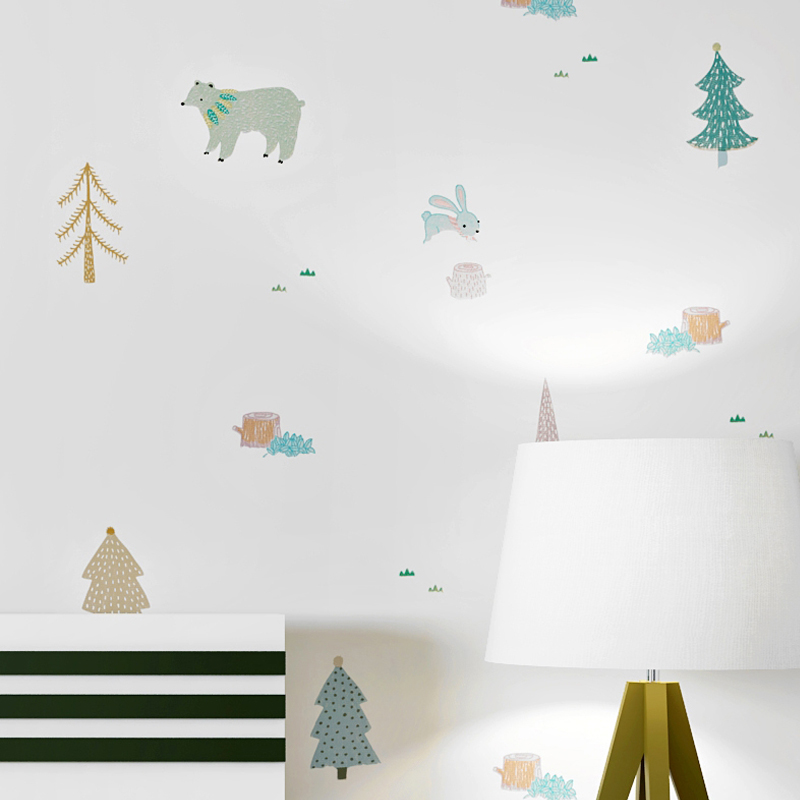 Cartoon Winter Forest Wall Papers Home Decor Nordic Living Room Decoration Wallpapers Roll for Walls Deco Mural Contact Paper morning sunlight snow forest patterned wall decor tapestry