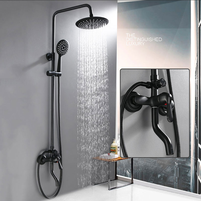 black round shower system European style bathroom faucet Wall Mounted mixer tap 3-functions oil rubbed shower set shower black