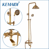 OUBONI Luxury Wall Mounted Bathroom Antique Brass Rainfall Shower Set Faucet Tub Mixer Tap Handheld Shower