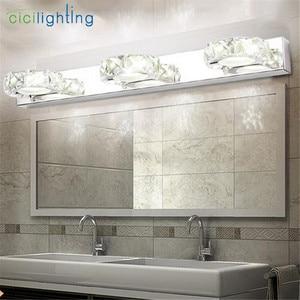 Image 5 - 110 220V L16cm 32cm 46cm 62cm 현대 욕실 K9 크리스탈 메이크업 라이트 화장실 전면 거울 벽 램프 정착물 led 크리스탈 미러