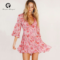 Sexy Floral Print Deep V Neck Short Ruffles Dress Pink Women Flare Sleeve Bandage Hollow Out Back Summer Chic Dresses Vestidos