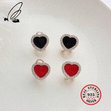 925 Sterling Silver Jewelry For Women Mosaic Zircon Red Black Earrings Clover Mother Heart Clip Earring Fine