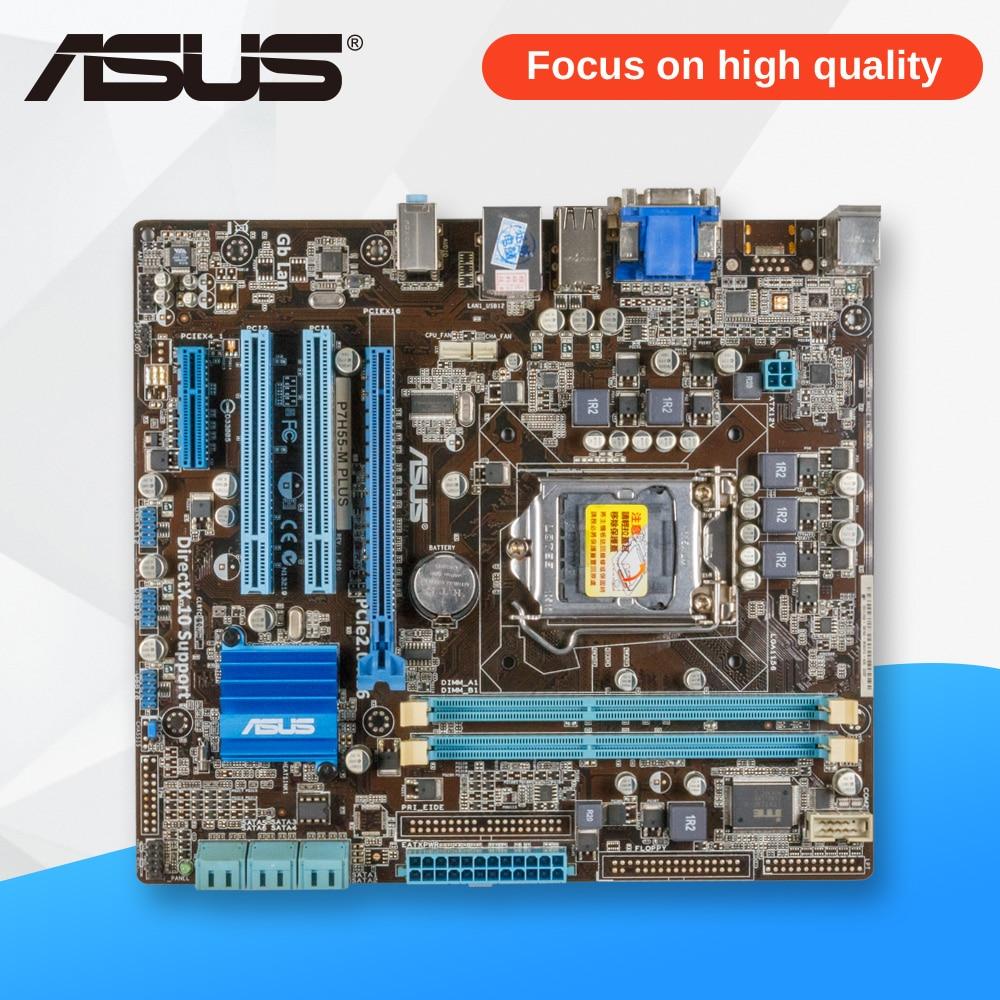 Asus P7H55-M PLUS Desktop Motherboard H55 Socket LGA 1156 i3 i5 i7 DDR3 8G DVI VGA uATX On Sale asus p7h55 desktop motherboard h55 socket lga 1156 i3 i5 i7 ddr3 16g atx uefi bios original used mainboard on sale