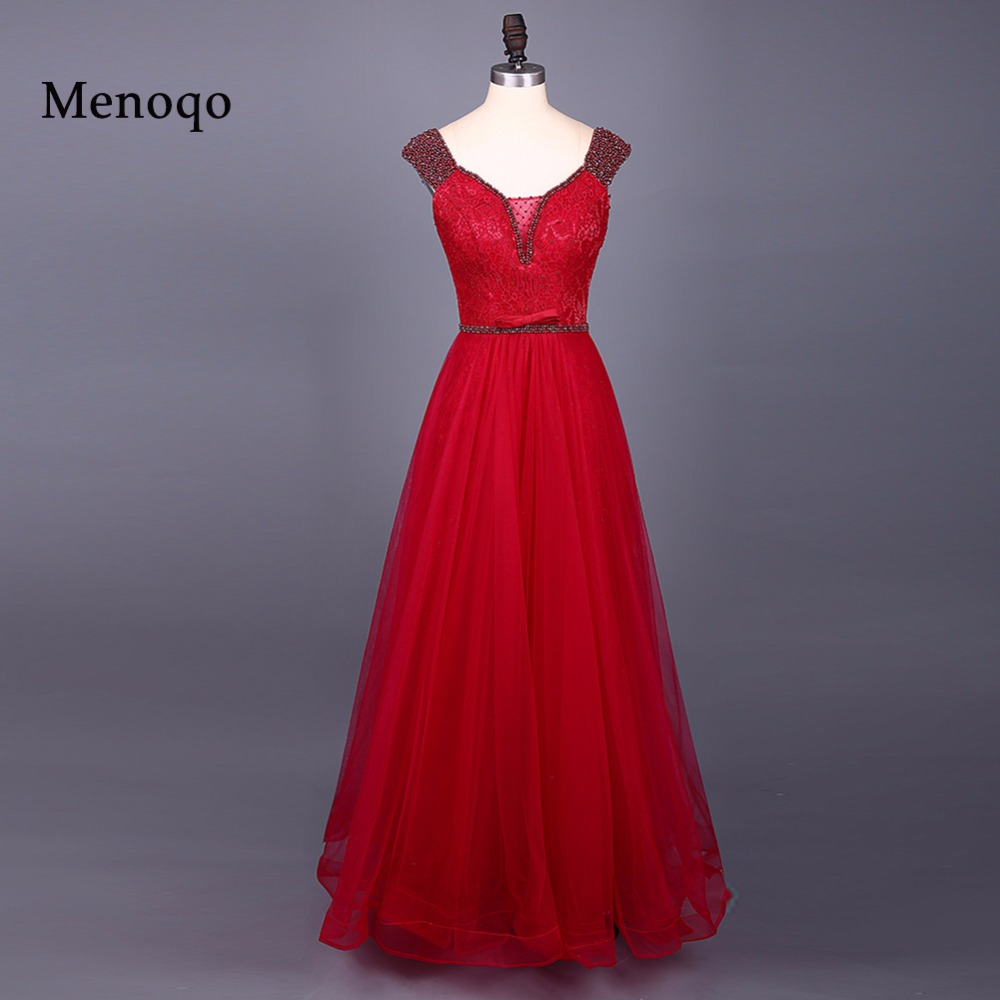 Real Photos long red prom dress cap sleeve lace up back prom dresses long  red tulle long dress