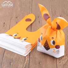 New 50pcs/lot Cute Rabbit Ear Cookie Candy Bags Gift Pouch For Biscuits Snack Baking Package Event Party Supplies