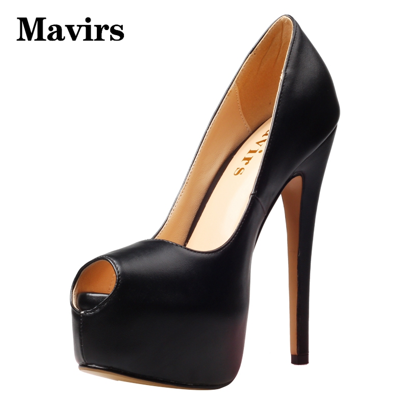 MAVIRS Brand Platform Heels Red Black Women Pumps 2018 Summer Peep Toe Stilettos Super High Heels Shoes Big Size EU 34-46 apoepo brand 2017 zapatos mujer black and red shoes women peep toe pumps sexy high heels shoes women s platform pumps size 43