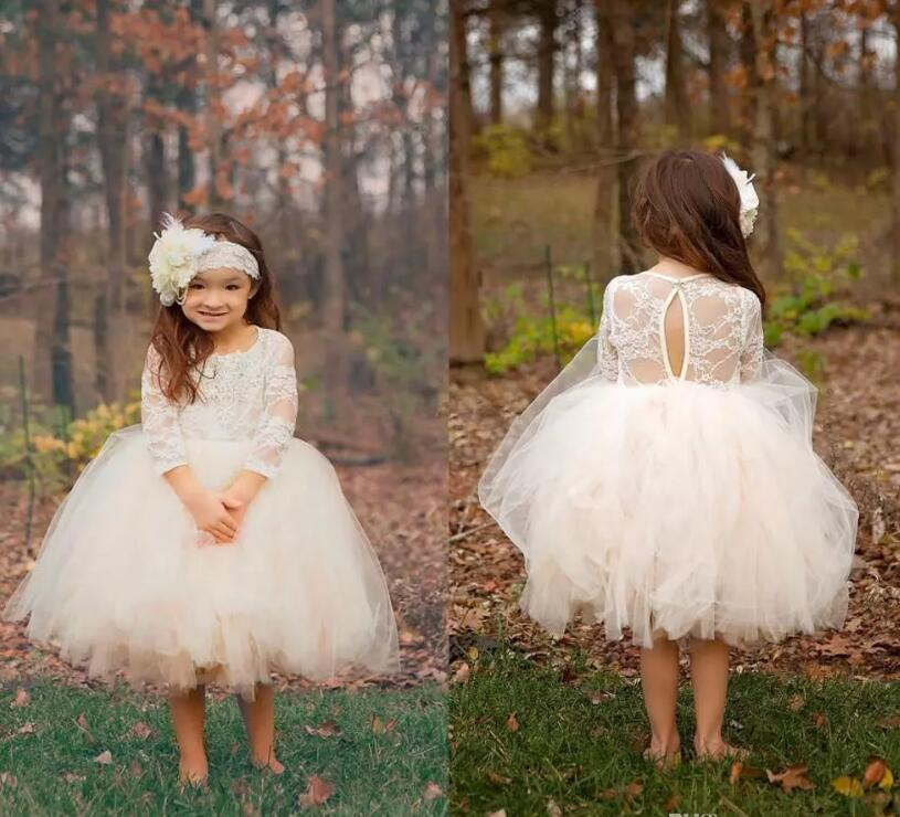 White Flower Girl Dresses for Weddings Lace Long Sleeve Girls Pageant Dresses First Communion Dress Little Girls Prom Ball Gown