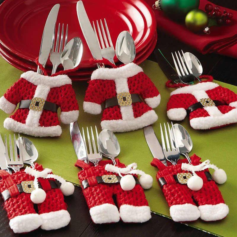 6 шт. Новогодняя Рождественская посуда держатель нож вилка столовые приборы комплект юбка брюки 2018 Navidad рождественское Рождество украшения для дома