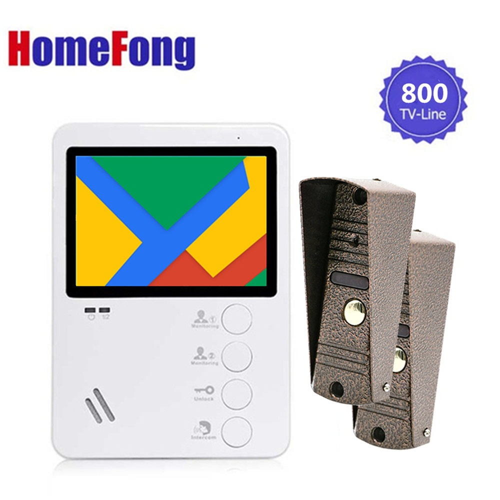 Homefong 4 Inch Video Phone Intercom Door Intercom Camera 1 Indoor Monitor 2 Outdoor Station Door Entry System