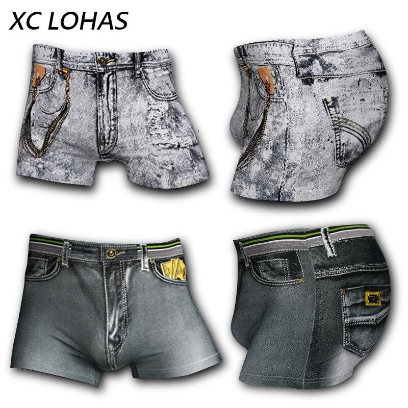 4Pcs/set New Cotton Jeans Men Boxers Underwear Sexy U convex 3D Print Male Underwear Shorts Fashion Novelty Cowboy Brand Panties