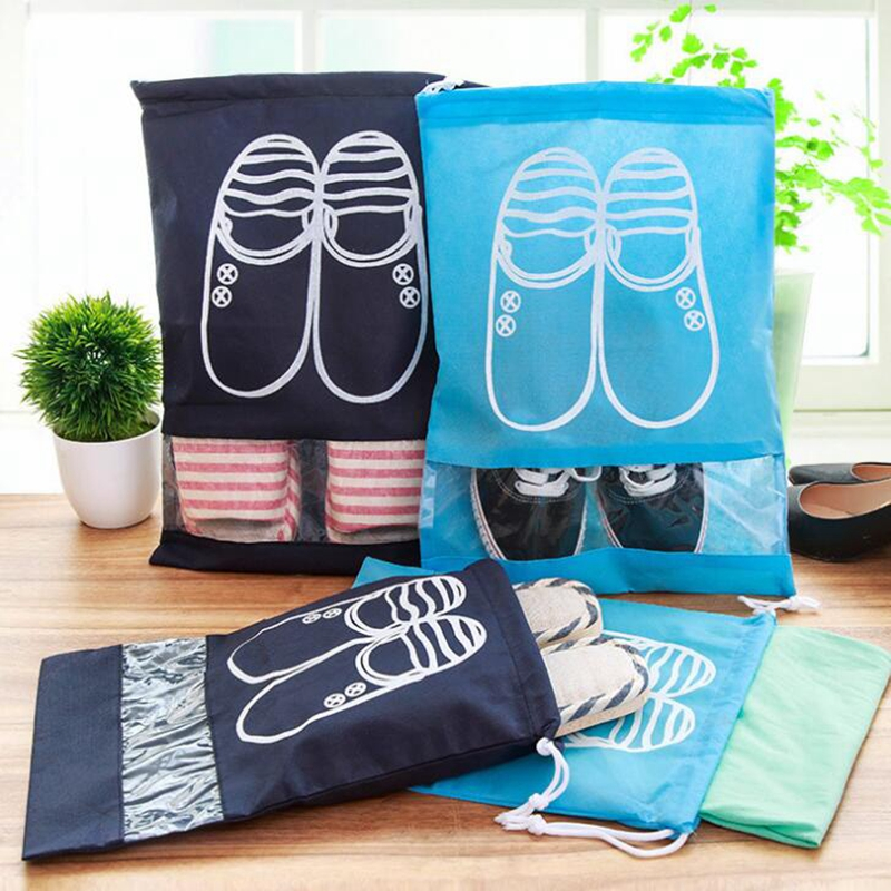 Travel Accessories Shoes Bags For Girls Women Dustproof Cover Shoes Bags Non-Woven Fabric Travel Beam Port Shoes Storage Bags