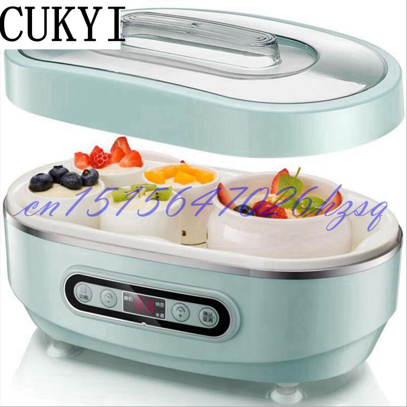 CUKYI 20W Household Electric Automatic yogurt/Natto/Rice wine machine 1L capacity Ceramic 8+2 liner Mini Multifunctional purple yogurt makers rice wine natto machine household fully automatic yogurt glass sub cup liner multifunctional kitchen helper