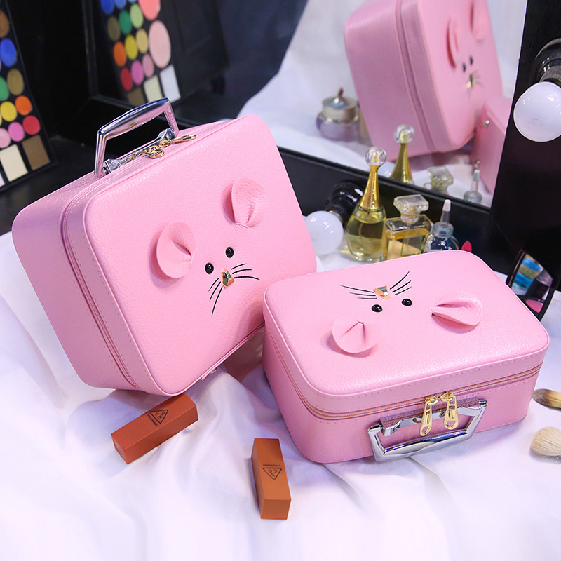2019 Portable Zipper Cosmetic Bag Cartoon Cute Girl neceser de maquillaje PU Travel Makeup Pouch Lovely Make Up Organizer bag in Cosmetic Bags Cases from Luggage Bags
