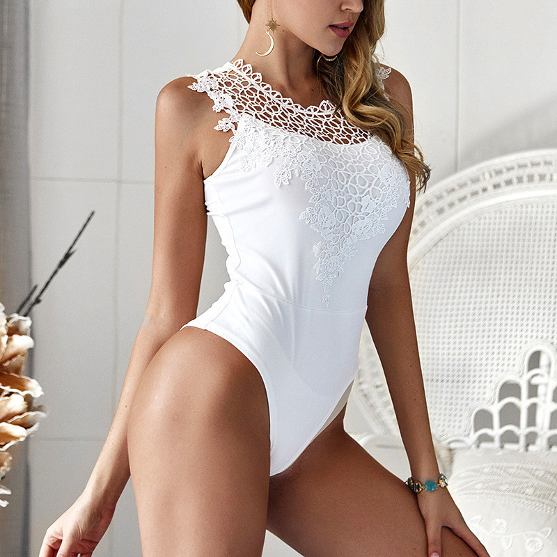 Hollow Out Patchwork Lace Bodysuit Women Sexy Off Shoulder Sleeveless Short   Jumpsuit   Summer 2019 White Casual Overall Body Women