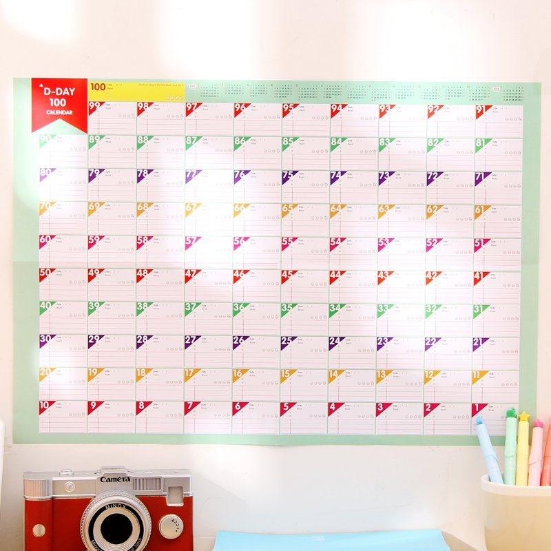 100 - day countdown calendar learning schedule struggle target table 100 days plan form pads