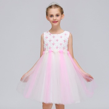Flower Girls Dress Kids Pageant Party Wedding Ball Gown Prom Princess Formal Occassion Girls Dress 2018 new girls puffy dress with bow ball gown flower girls dresses for wedding baby girls birthday party dress pageant gown