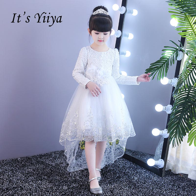 It's yiiya   Flower     Girl     Dresses   Bow Tea-Length Zipper Lace Normal Party   Girls     Dresses   For Party Wedding Ball Gown Kids   Dress   S016