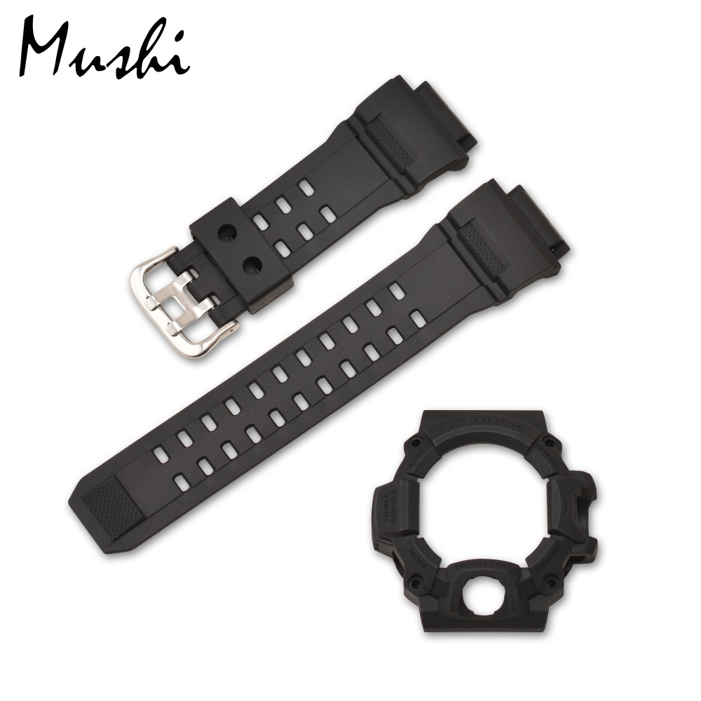 MS Silicone Rubber Watch Strap for Casio <font><b>GW</b></font>-<font><b>9400</b></font> Black Men Sport Diving Metal Buckle Watch Band Watch Case with Tool image