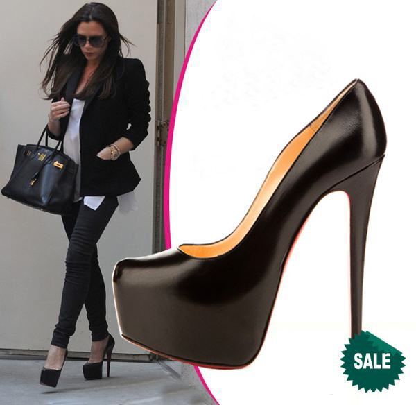 2013 New Hot Celebrity Same Paragraph Women Luxury Black And Beige Red Sole Nude Heels -4829