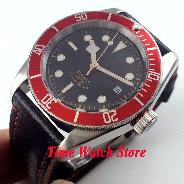 e60868d0d22 41mm Corgeut estéril preto dial rose gold rim mãos vermelhas inserir MIYOTA  Automáticos de vidro Moldura