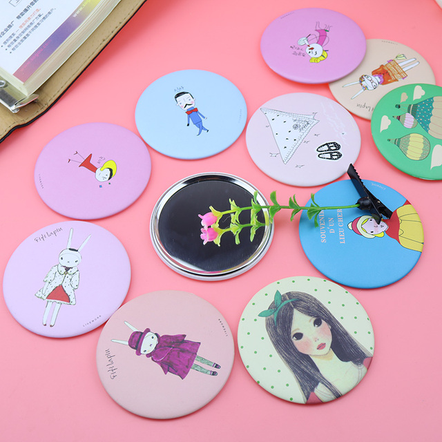 Fashion Cartoon Folding Pocket Mirror Compact  Portable Cute Small Hand Mirrors Makeup Cosmetic Mirror Color random delivery