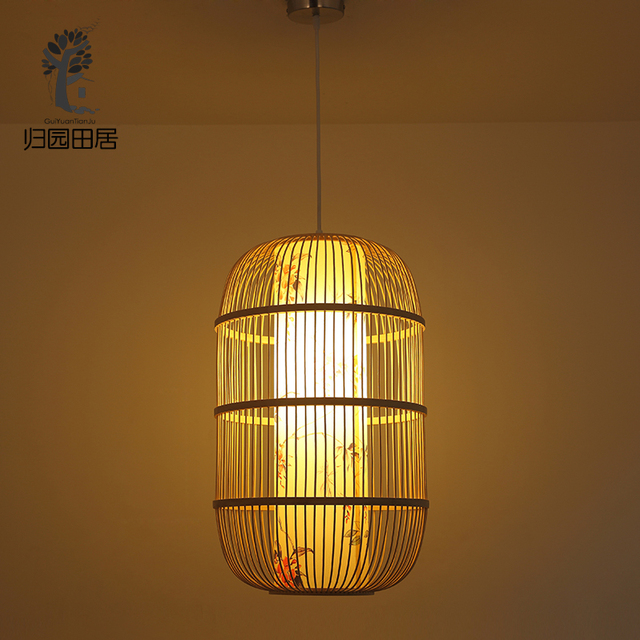 New chinese classical simple bamboo bird cage chandelier balcony new chinese classical simple bamboo bird cage chandelier balcony stairs lantern tea light chandeliers villa aisle aloadofball Gallery