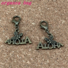 150Pcs /lots Antique bronze ALOHA Charms Bead with Lobster clasp Fit Charm Bracelet Jewelry DIY 21x27.5mm A-310b
