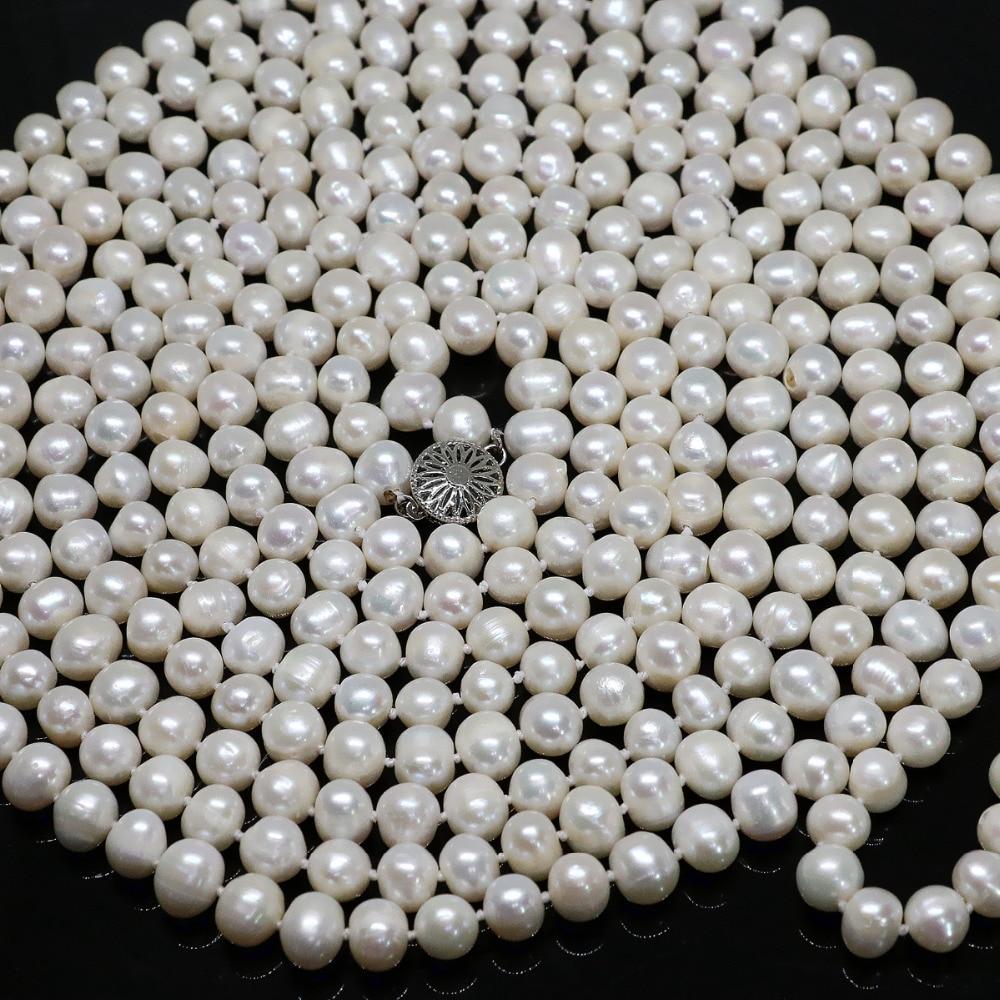 Specjalne białe naturalne perły okrągłe koraliki 7 8,8 9mm długi łańcuch naszyjnik moda biżuteria 100 cal B1463 w Naszyjniki łańcuszkowe od Biżuteria i akcesoria na  Grupa 3