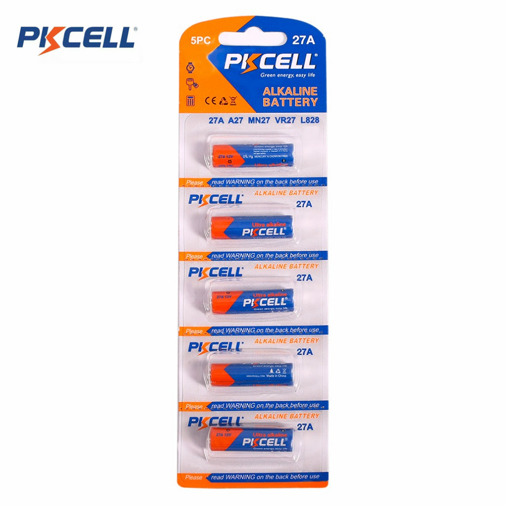 Pkcell 5pcs card 27A Alkaline Battery Supplies 12V Environmentally Friendly Dry Battery For Visual Doorbell Intercom
