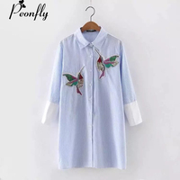 PEONFLY 2017 Women Bird Embroidered Blouse Shirts Fashion Long Sleeve High Quality Turn Down Collar Spring