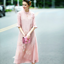 Spring and summer dress women's chinese style improved cheongsam dress vintage embroidery silk dress female