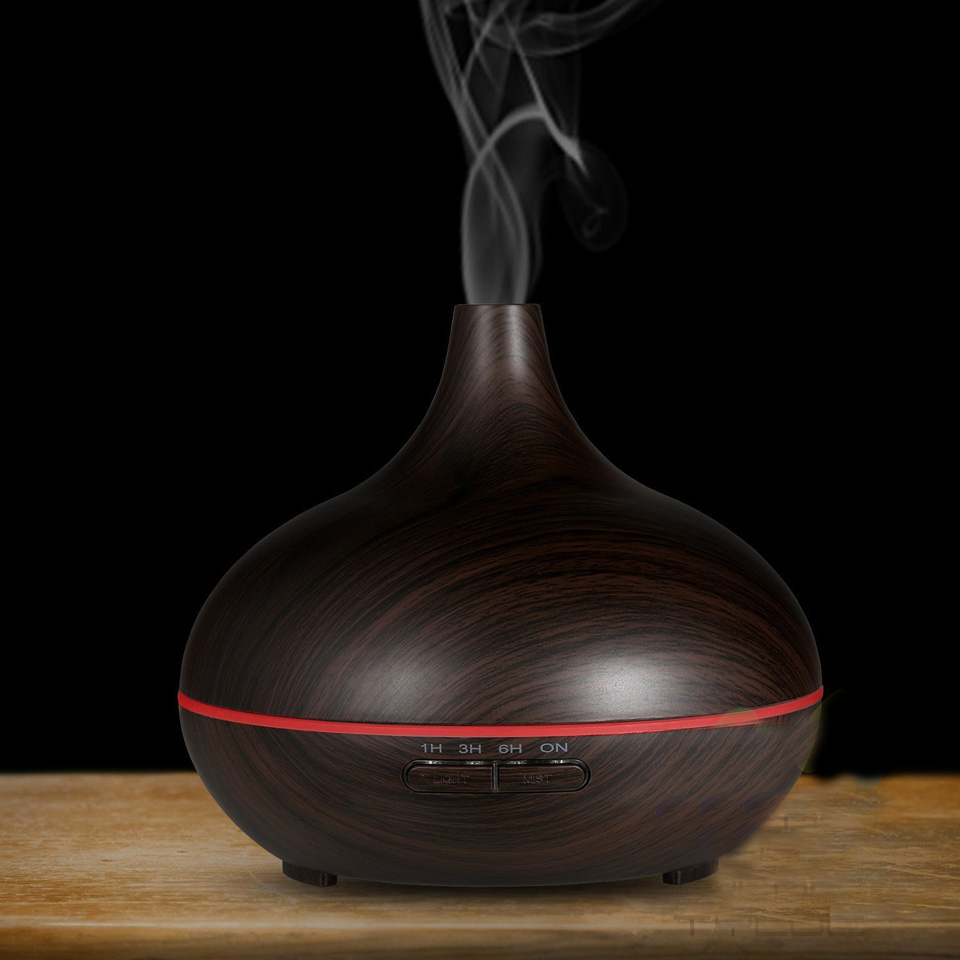 High Quality 300ML Air Aroma Essential Oil Diffuser LED Ultrasonic Aroma Aromatherapy Humidifier Mist Purifier Maker Wood Grain