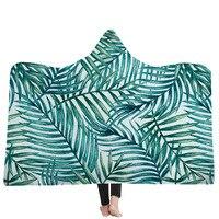 Tropical Plant Fruit Series Hooded Blanket Indian Tribal Feather Sherpa Fleece Throw Blanket Gray Teal Wearable Blanket