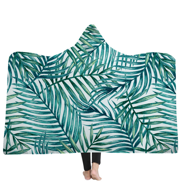Tropical Plant Fruit Series Hooded Blanket Indian Tribal Feather Sherpa Fleece Throw Gray Teal Wearable