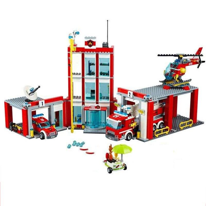 Лепин 02052 город пожарная станция Command Center грузовик автомобиль вертолет Building Block игрушечные лошадки для детей Рождественский подарок 60110 Legoings