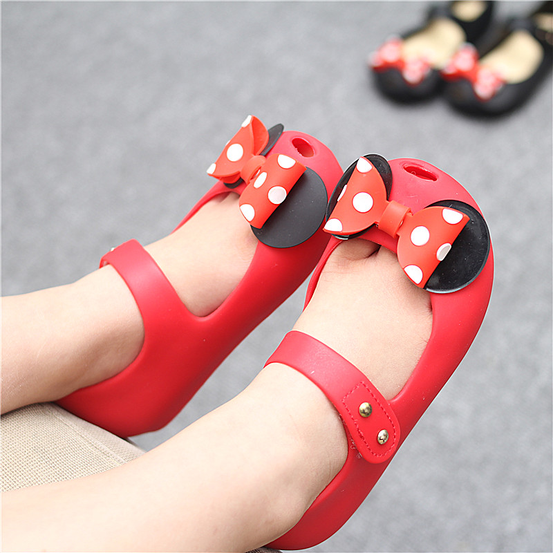 Melissa Girls Jelly Sandals Cute Point Mickey Bow For Mini Sandals Girl Fish Mouth Princess Sandals Comfortable Shoes Melissa