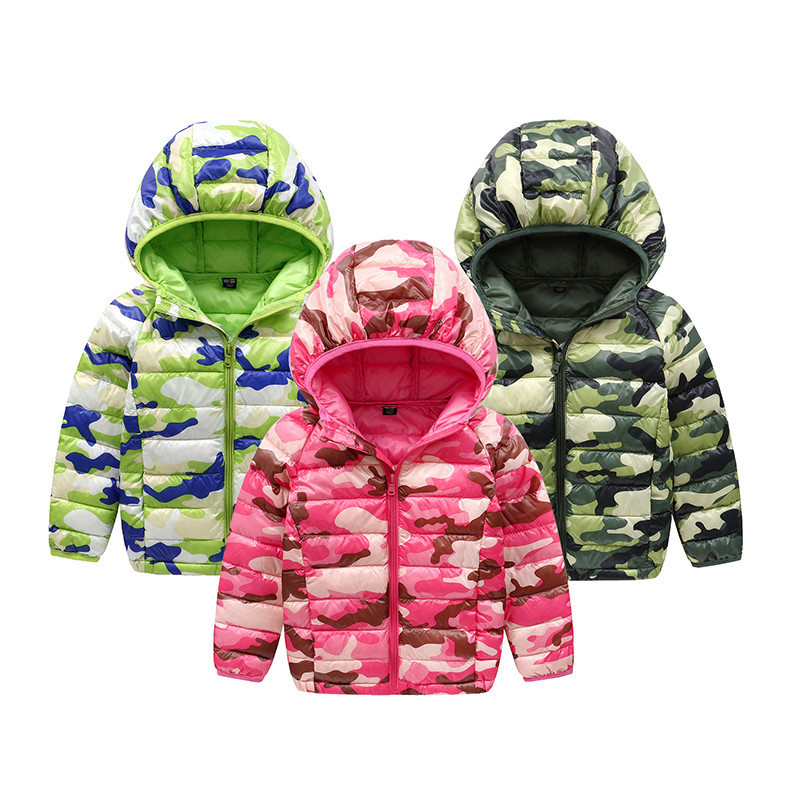 Kids Winter Army Green Duck Down Jacket Baby Girls Boys Warm Light Down Coat Children Winter Hooded Coat Outwear 2017 New kn 33 women s winter wear stylish thickened warm hooded down jacket coat army green l
