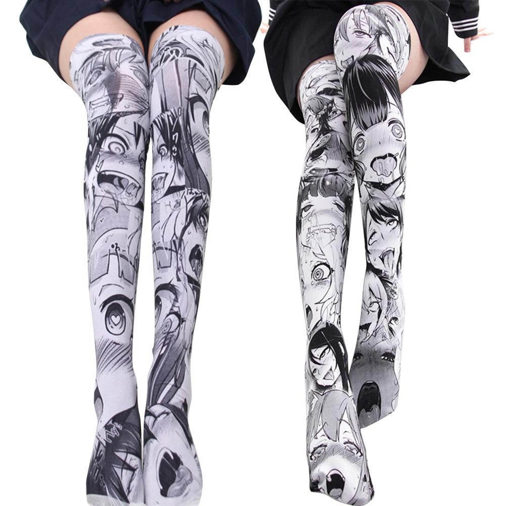 Velvet Anime Cartoon Pattern Printed Over Knee Thighs Cosplay Costume Lovely Girls Lolita Sexy Knee High Stockings