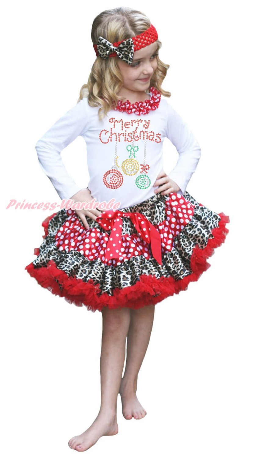 Merry Christmas Lighting White Top Leopard Minnie Dot Girls Pettiskirt Set 1-8Y rhinestone my 1st christmas hat white top leopard minnie girls skirt outfit 1 8y