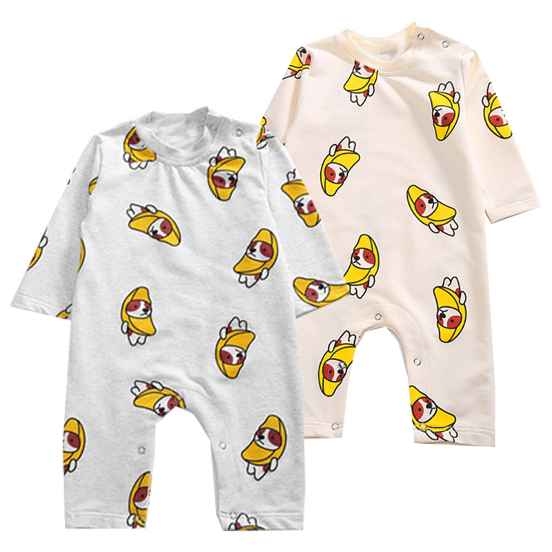 Fashion newborn toddler baby rompers long sleeve cartoon Banana dog jumpsuit infant clothing baby boy girl clothes with cap