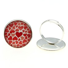 20mm Red Hearts Glass Cabochon Rings Handmade Jewelry Gift For Women Girl Dropshipping Supplier 2 Colors