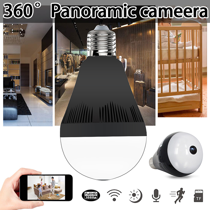 Bulb Lamp Camera Wireless Panoramic 360 VR 1080P 2MP IP Camera Smart LED Lights Cam White Light Night Vision Bulb Home Security нивелир ada cube 2 360 home edition a00448