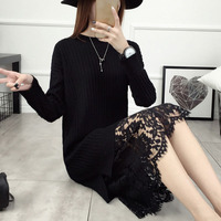 Women Sweater Dress Pullover Loose Autumn And Winter Female Lace Patchwork Basic Sweater Basic Shirt