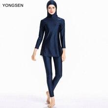 YONGSEN Muslim Swimwear Women Modest Patchwork Full Cover Long Sleeve Burkinis Wear Swimming Bathing Suit Beach Hijab Swimsuit