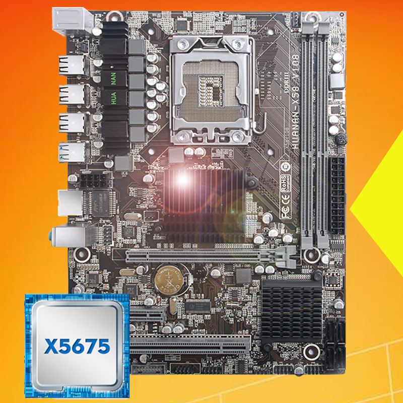 Brand New Desktop Motherboard HUANAN ZHI X58 LGA1366 Motherboard With Processor Intel Xeon X5675 3.06GHz USB3.0 RAM 2 Channels