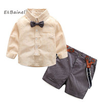 E Bainel Gentleman Summer Clothes Baby Boy Clothes Fashion Bow Tie Shirt Strap Pants Baby Set