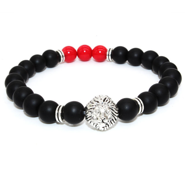 294c792f0640 SN0638 coral rojo Moda hombre pulsera de piedra plata Lion Head pulsera  mate negro Onyx pulsera