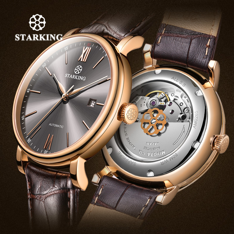 STARKING Brand Luxury Minimalist Business Watch Men Japan Miyota Automatic Watch Steel Auto Date Male Clock Leather Wristwatches