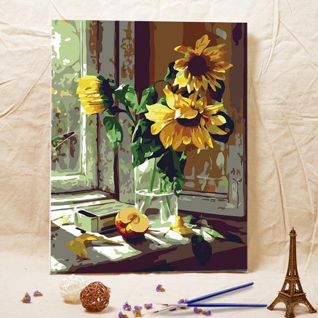 Frameless diy oil painting Window sill sunflower acrylic